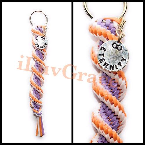 Coral, Lavender & White Keychain + Eternity Charm
