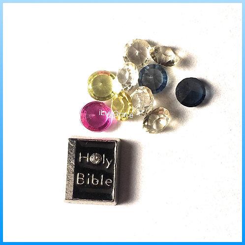 Bible Floating Memory Locket Charm + Gems