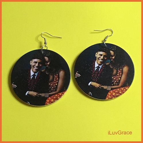 Mr. & Mrs. Obama Wooden Earrings