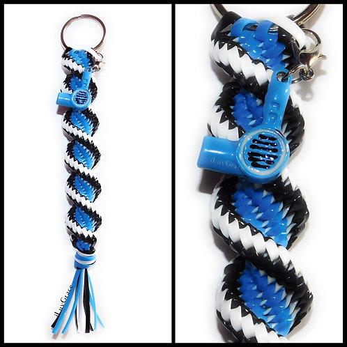 Black, White & Neon Blue Keychain + Hairdryer Charm ~ #UnityKeychain ~