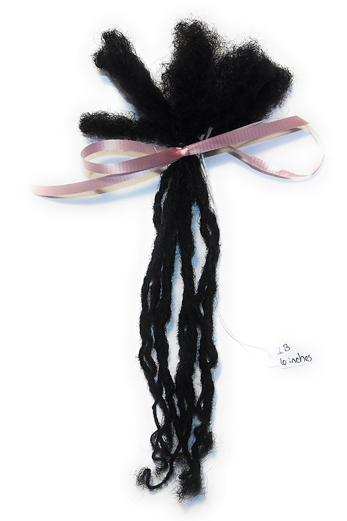 10 Micro Loc Extensions, 100% Human Hair, 6 Inch Micro Dreadlocks, Color 1B