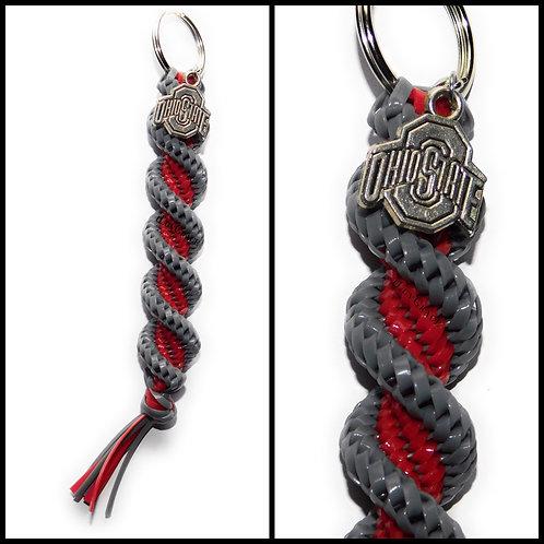 Grey & Red Keychain + Ohio Charm