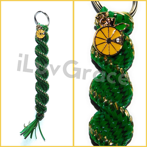 Green & Gold Keychain + Lemon Charm