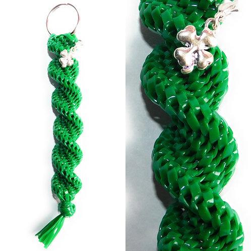 Green KeyChain + Four Leaf Clover Charm