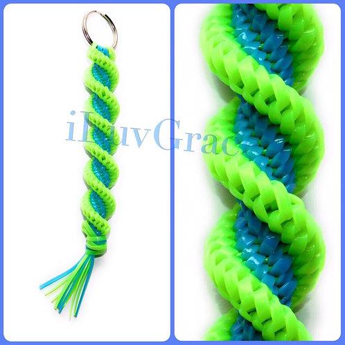 Apple Green & Neon Blue Keychain
