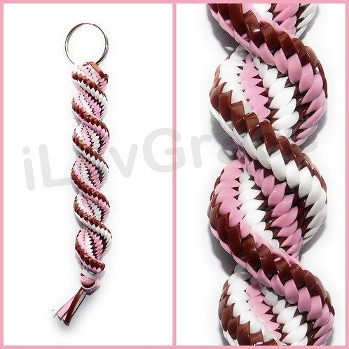 Brown, Pink & White KeyChain