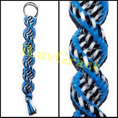 Neon Blue & Black/White Keychain