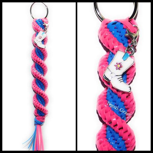 Magenta & Neon Blue Keychain + Cowgirl Boot Charm