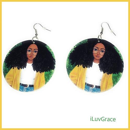 Wooden Earrings ~ Black Girl in Yellow Sweater ~