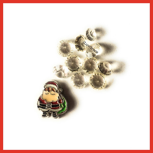 Floating Memory Locket Charm ~ Santa + Gems ~