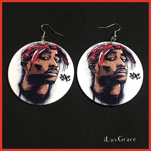 Wooden Tupac Earrings