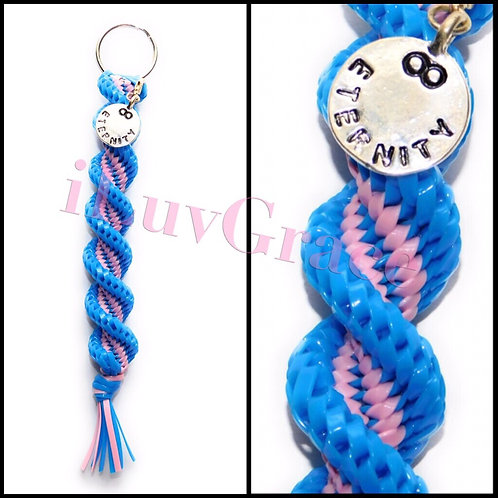 Neon Blue & Light Pink Keychain