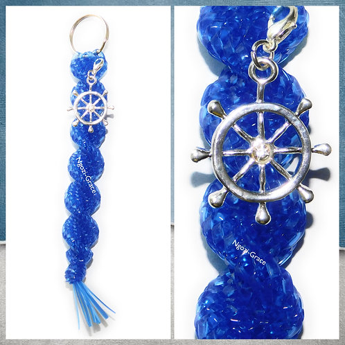 Clear Blue Keychain + Boat Wheel Charm