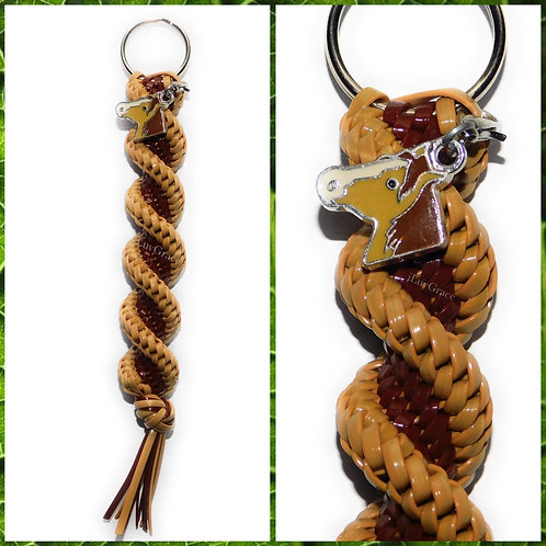 Brown & Tan Keychain + Horse Charm