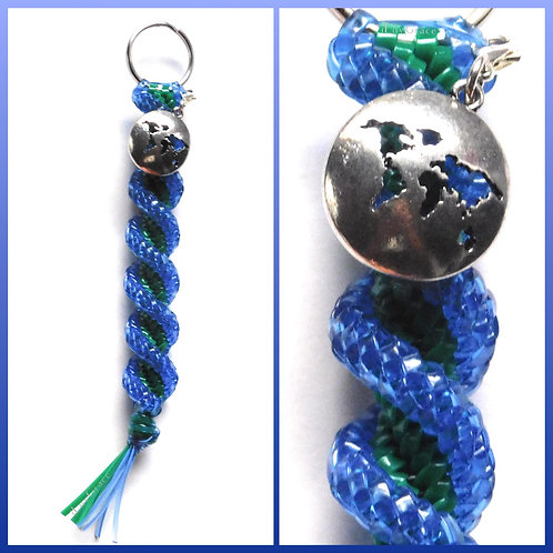 Clear Blue & Green Keychain + World Charm