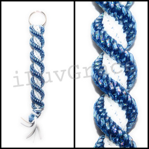 Holo Blue & White Keychain