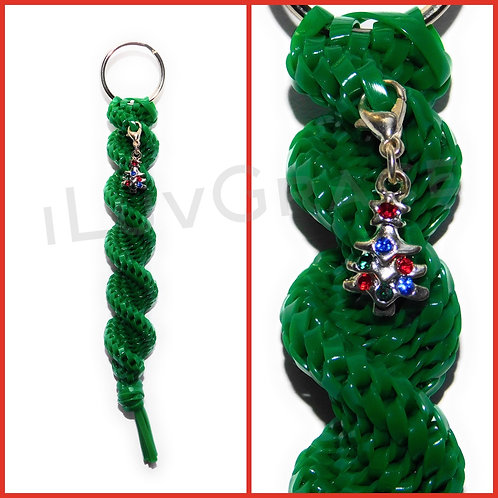 Green Keychain + Christmas Tree Charm