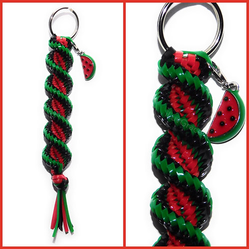 Black, Green & Red Keychain + Watermelon Charm