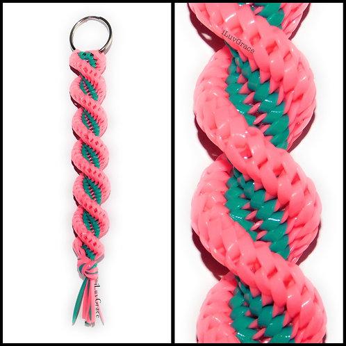 Neon Pink & Turquoise Keychain