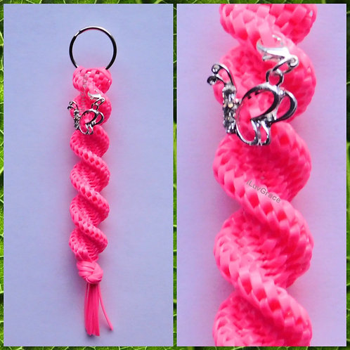 Neon Pink Keychain + Butterfly Charm
