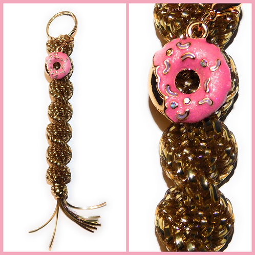 Gold Keychain + Pink & Gold Donut Charm