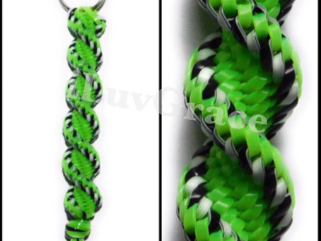 Black/White & Apple Green Keychain by iLuvGrace