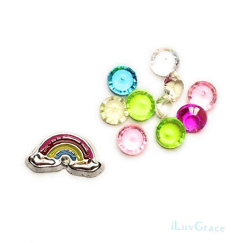 Floating Locket Charms ~ Rainbow + Gems ~
