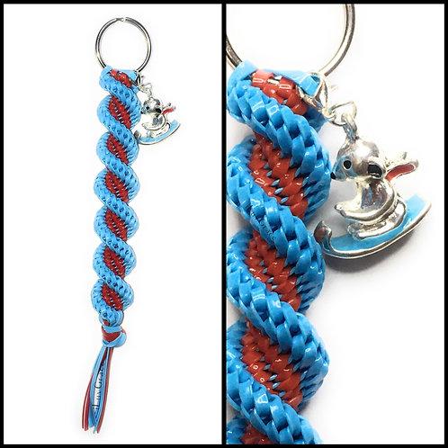 Light Blue & Red Keychain + Sledding Bear
