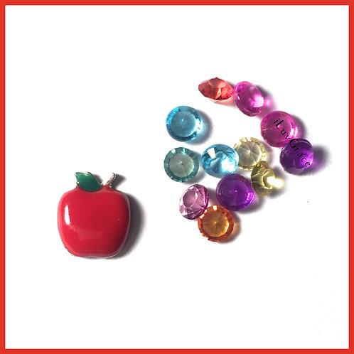 Apple Floating Memory Locket Charms + Gems
