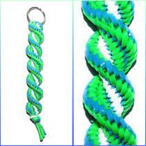 Neon Green, Neon Blue & White Keychain