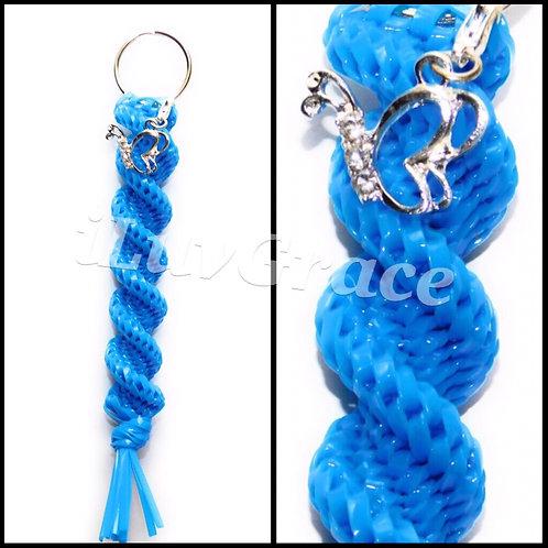 Neon Blue Kechain + Butterfly Charm