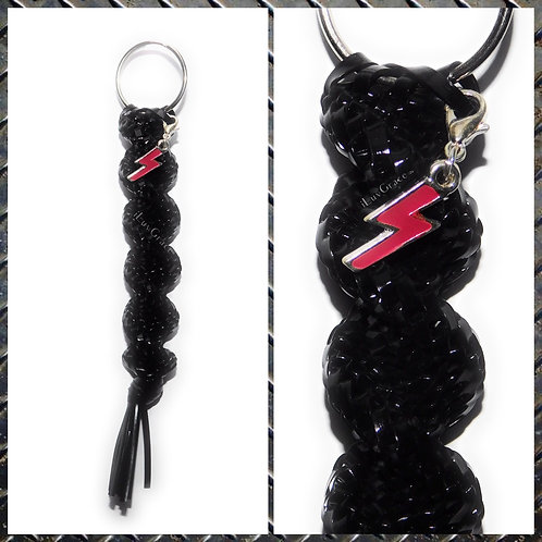 Black Keychain + Red Lightening Charm ~ #UnityKeychain ~