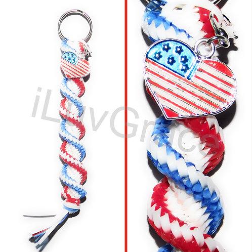Red, White & Blue Keychain + USA Flag Charm