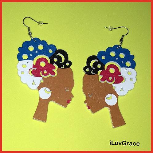 Wooden Earrings ~ Colorful Hair ~