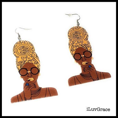 Black Woman in Yellow Scarf Wooden Earrings