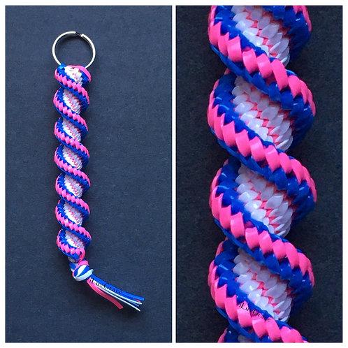 Neon Blue, Neon Pink & White Keychain