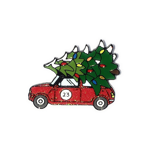 Enamel Pin ~ Red Car with Christmas Tree ~
