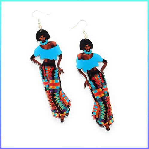 African Ethnic Woman Wooden Earrings