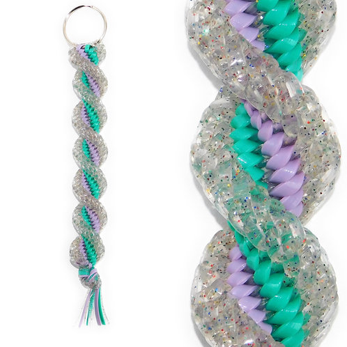 Sparkle Clear, Lavender & Turquoise KeyChain