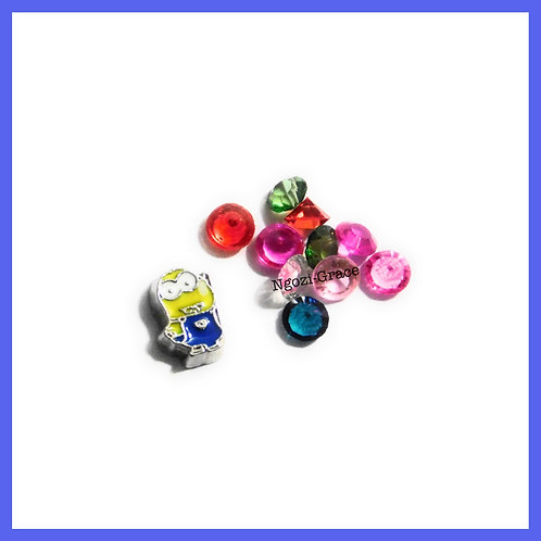 Minion Floating Memory Locket Charm + Gems