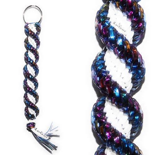 Clear Blue Tye Dye + White Keychain