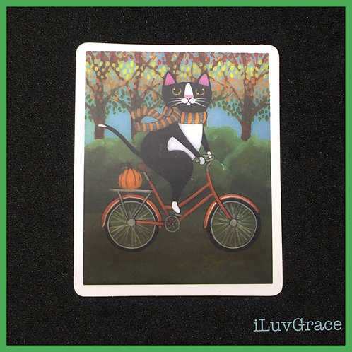 Sticker ~ Cat on a Bike ~