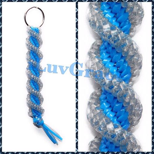 Sparkle Clear & Neon Blue Keychain