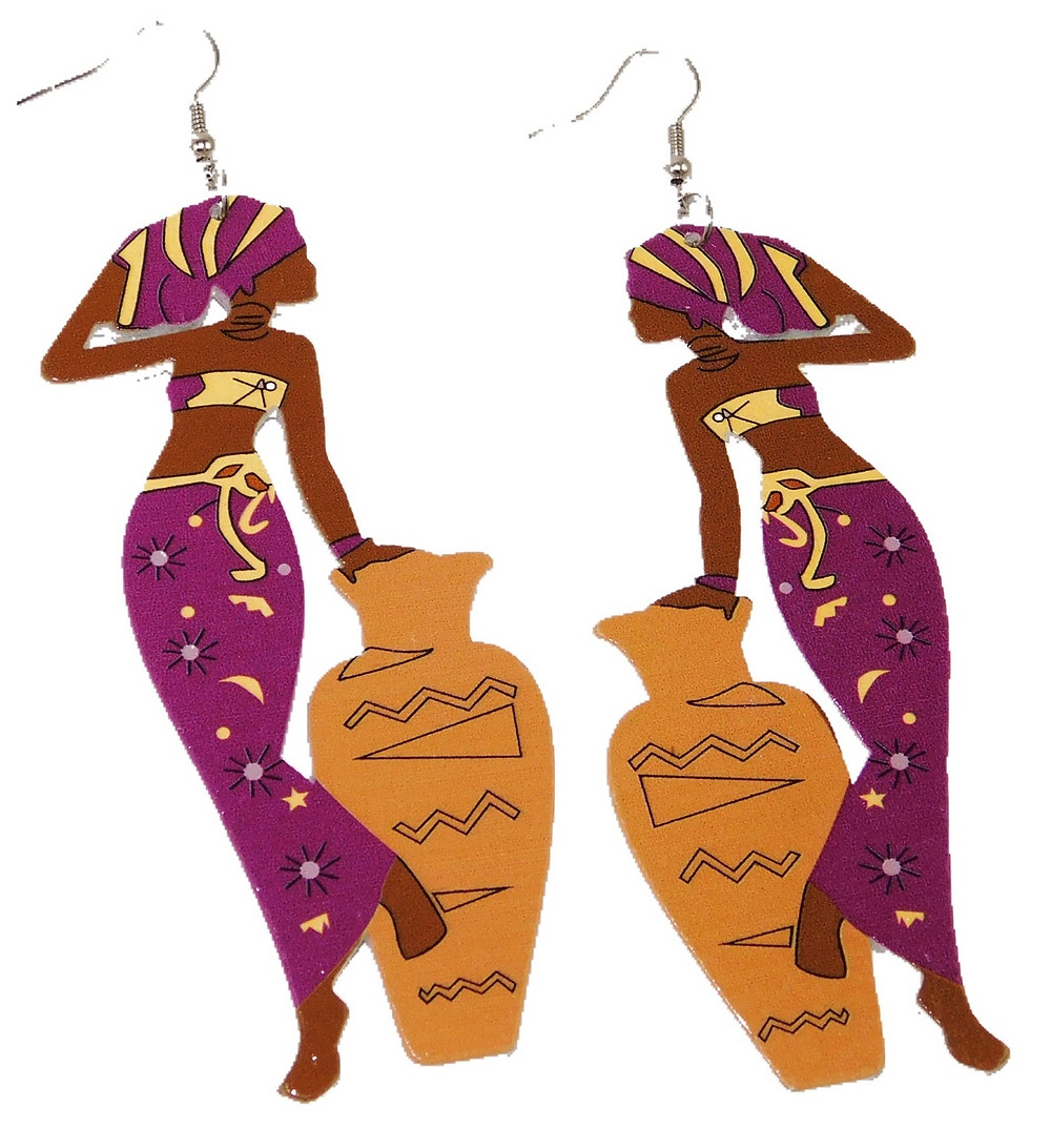 African Woman with Vase Wooden Earrings