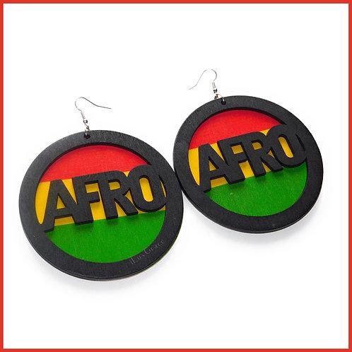 Wooden Afro Earrings