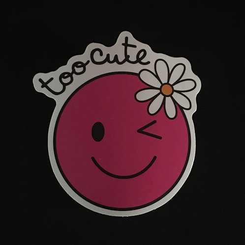 Too Cute Pink Smiley Face Sticker