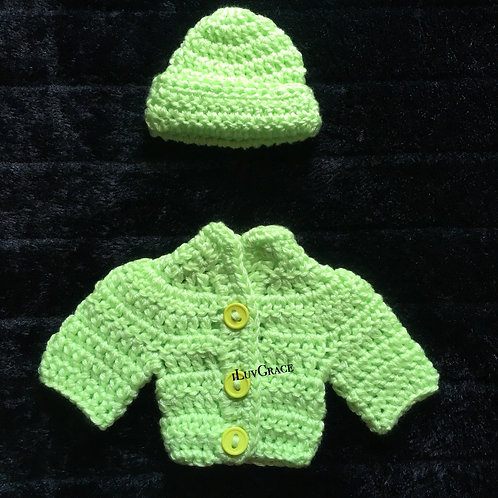 Light Green Hat & Sweater for Newborn