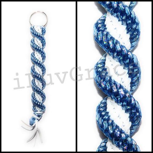 Blue Holo & White Keychain