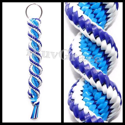 Neon Blue, Purple & White Keychain