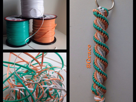 Coral, Teal & White Keychain
